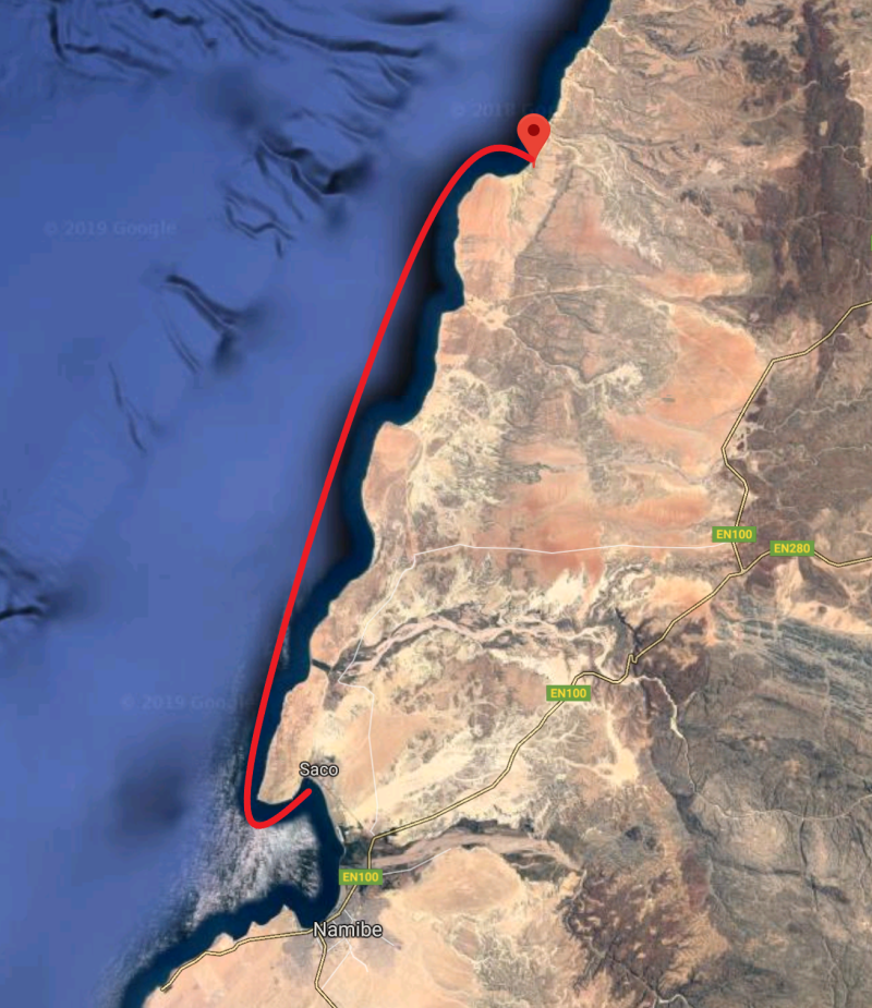 8hr Tow from Namibe to Baba.  Image courtesy of Googlemaps.